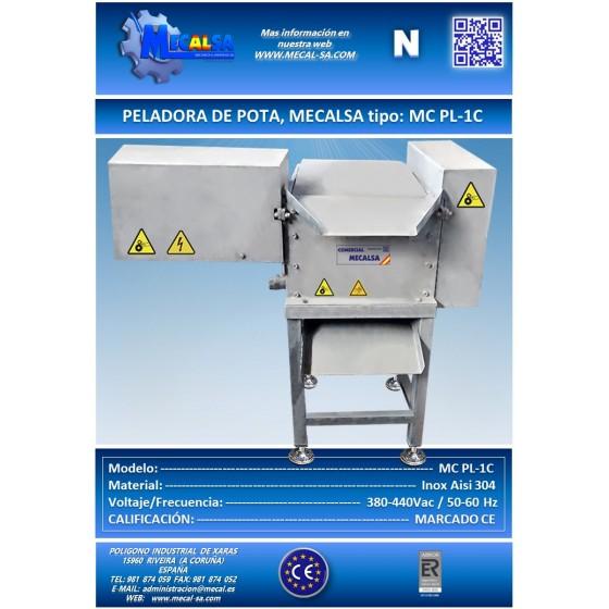 PELADORA DE POTA, MECALSA tipo:  MC PL-1C