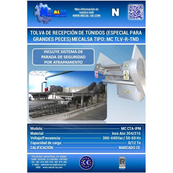 TOLVA DE RECEPCIÓN DE TÚNIDOS, MECALSA tipo: MC TLV-R-TND
