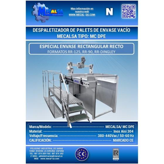 DESPALETIZADOR DE PALETS DE ENVASE VACÍO, MECALSA tipo: MC DPE