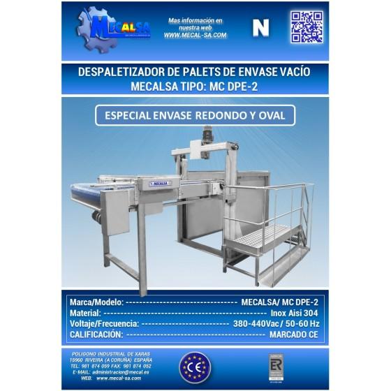 DESPALETIZADOR DE PALETS DE ENVASE VACÍO, MECALSA tipo: MC DPE-2